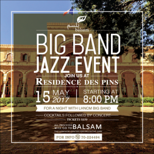 LEBANESE CENTER FOR PALLIATIVE CARE - BALSAM TO HOLD FUNDRAISING CONCERT AT THE RESIDENCE DES PINS MONDAY, MAY 15